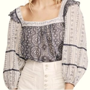 NWT Free People Boho Top in Blue ans Ivory Size M